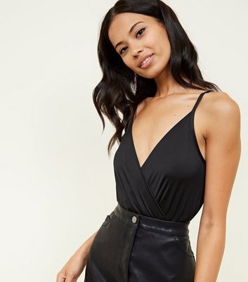 Black Wrap Front Bodysuit