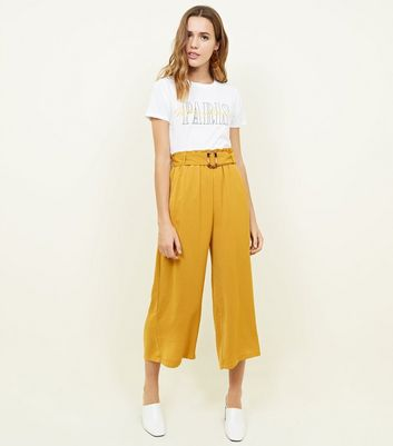 Yellow Herringbone Buckle Detail Cropped Trousers