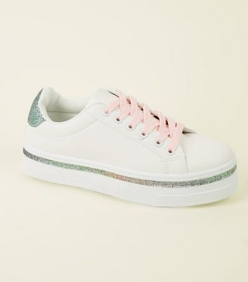 Girls White Rainbow Glitter Trim Trainers