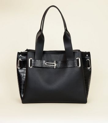 Black Faux Croc Buckle Trim Tote Bag