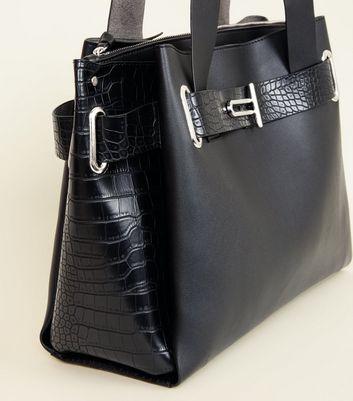 Black Faux Croc Buckle Trim Tote Bag New Look