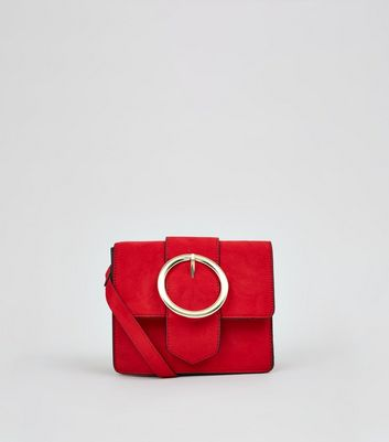 Red Circle Buckle Cross Body Bag