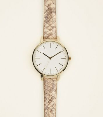 Mink Faux Snakeskin Strap Watch