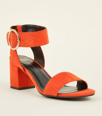 Girls Orange Suedette Ring Buckle Sandals