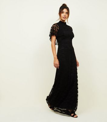 189df641c89 NEW LOOK. MELA BLACK HIGH NECK LACE MAXI DRESS