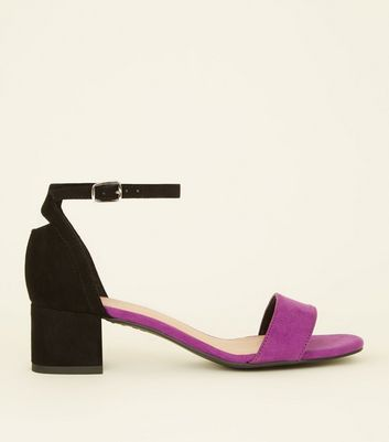 Girls Purple Suedette Colour Block Mid Heels