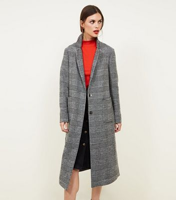 Black Check Double Breasted Maxi Coat