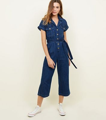 Blue Rinse Wash Denim Culotte Jumpsuit