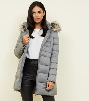 Grey Removable Hood Belted Longline Puffer Coat