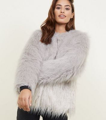 Light Grey Colour Block Faux Fur Coat