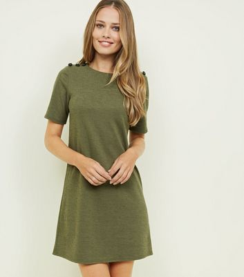 Khaki Cross Hatch Button Shoulder Tunic Dress