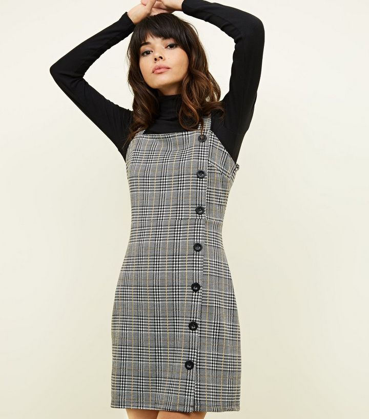 2fd04b27128 Grey Houndstooth Check Button Side Pinafore Dress