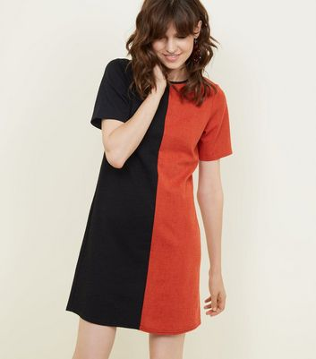 Black and Red Contrast Cross Hatch Tunic Dress