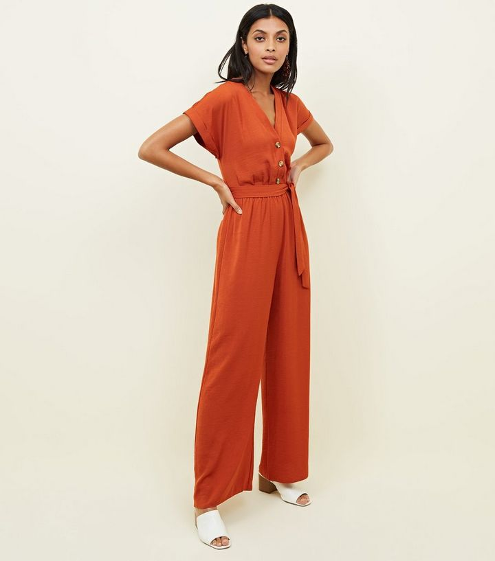 e6c7af58e8 Orange Button Through Wide Leg Jumpsuit