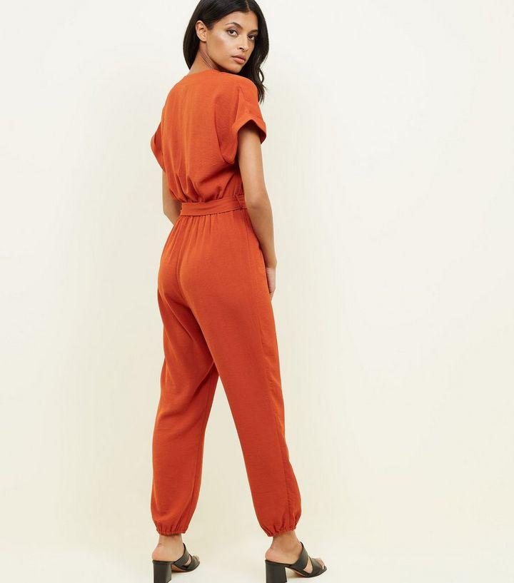 59f8f2b855 Orange Button Front Linen-Look Cuffed Jumpsuit
