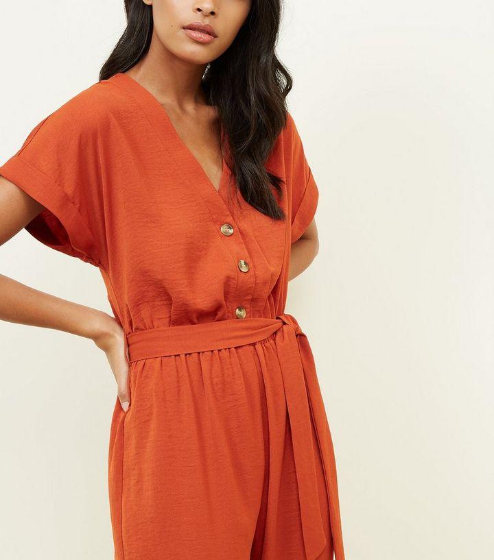 58d01a3448 ... Orange Button Front Linen-Look Cuffed Jumpsuit. ×. ×. ×. Shop the look