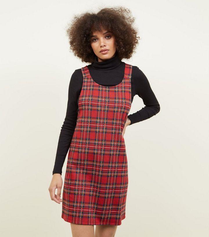 9703583828583 Red Tartan Jersey Pinafore Dress | New Look