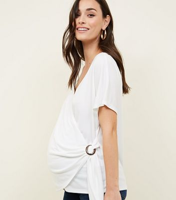 Maternity Off White Wrap Buckle Top