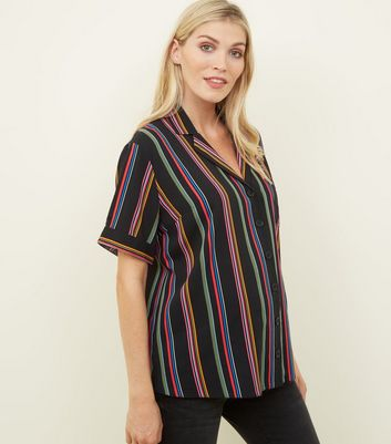 Maternity Black Rainbow Stripe Short Sleeve Shirt
