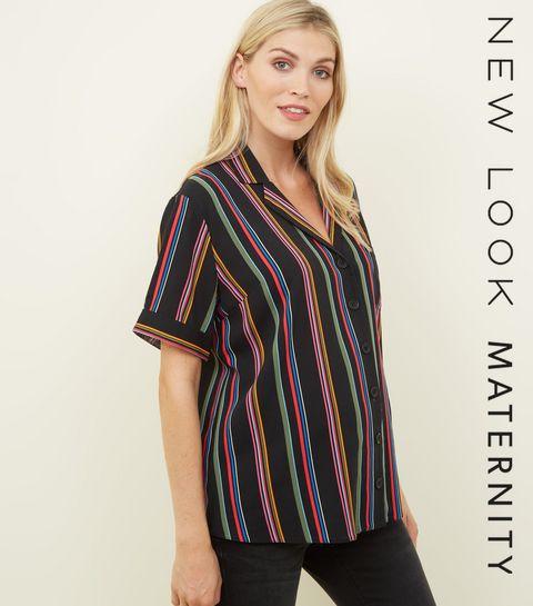 9d9077b6f19c9 ... Maternity Black Rainbow Stripe Short Sleeve Shirt ...
