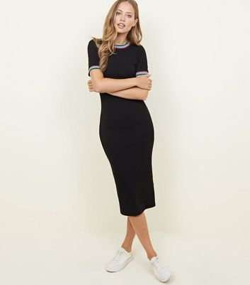 black-rainbow-glitter-tipped-bodycon-midi-dress by new-look