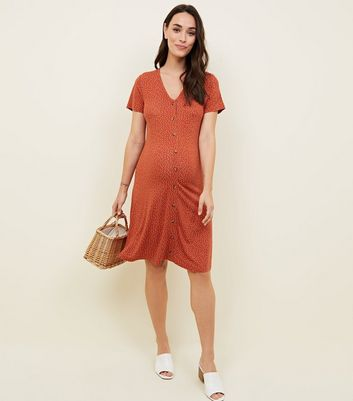 Maternity Spot Print Button Through Tea Dress