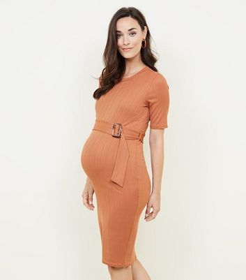 Maternity Rust Ribbed Horn Buckle Bodycon Dress