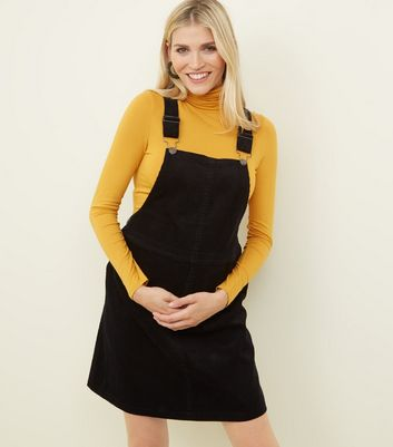 Maternity Black Front Pocket Buckle Pinafore Dress