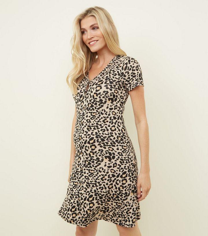 951c7a766b0 Maternity Brown Leopard Print Mini Dress