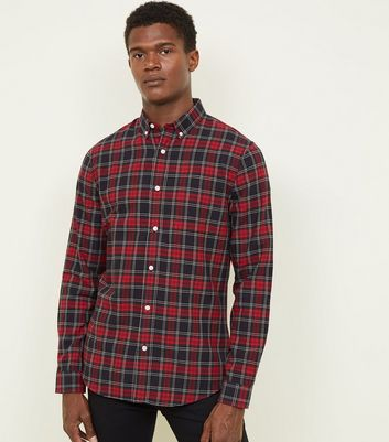 Red Check Long Sleeve Oxford Shirt