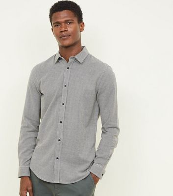 Light Grey Houndstooth Check Long Sleeve Shirt