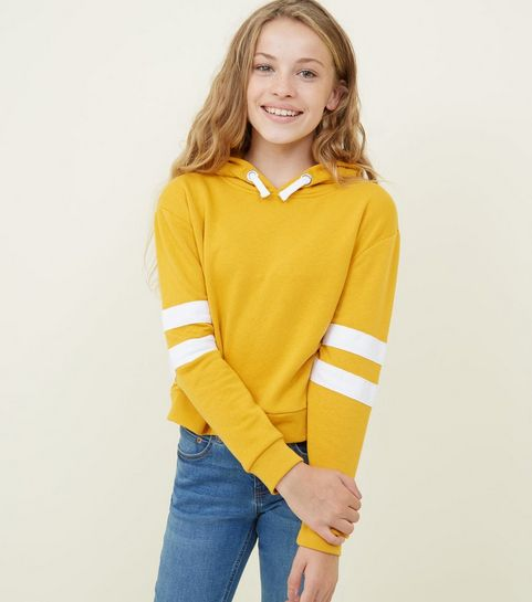 ... Girls Mustard Stripe Sleeve Hoodie ... 542c15b03b