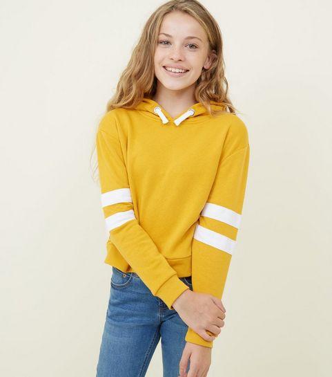 5078560be3 ... Girls Mustard Stripe Sleeve Hoodie ...
