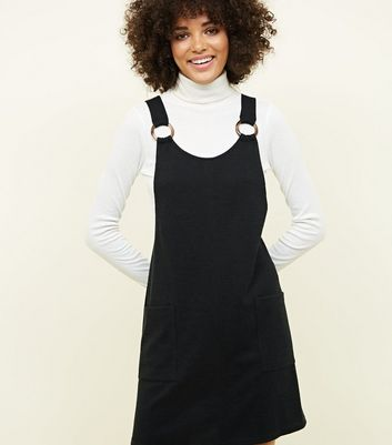Black Round Buckle Cross Hatch Pinafore Dress