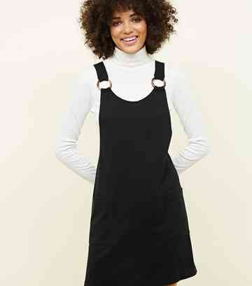 Black Round Buckle Pinafore Dress