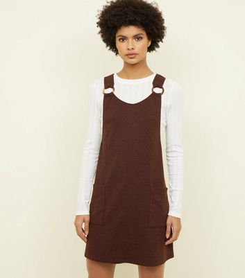 Brown Round Buckle Pinafore Dress