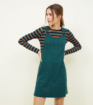 Dark Green Round Buckle Pinafore Dress