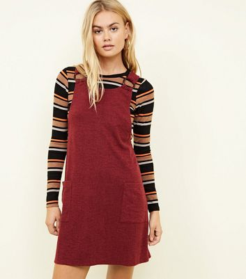 Burgundy Round Buckle Pinafore Dress