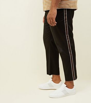 Plus Size Black Pull On Side Stripe Trousers