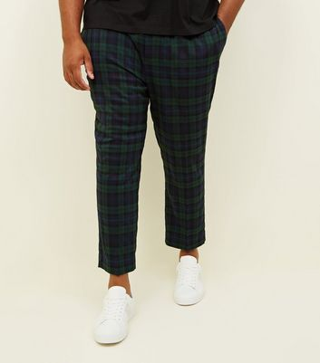 Plus Size Navy and Green Check Trousers