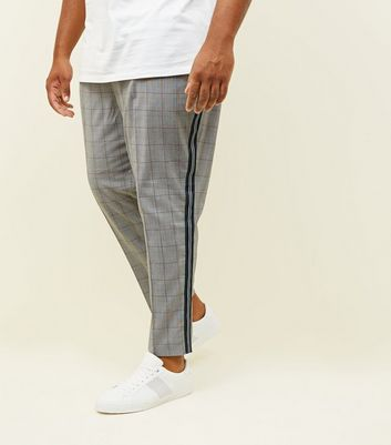 Plus Size Light Grey Check Side Stripe Trousers