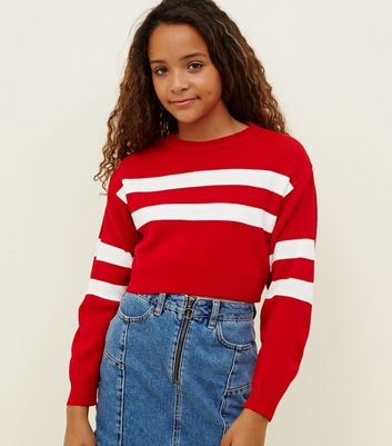 Girls Red Stripe Sleeve Jumper
