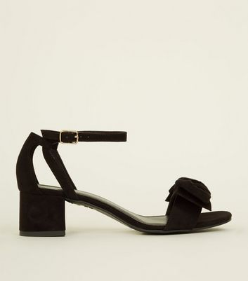 Girls Black Bow Block Heel Sandals
