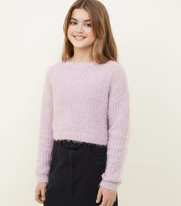 Girls Lilac Fluffy Chenille Jumper