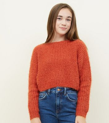 Girls - Pull orange en maille chenille douce