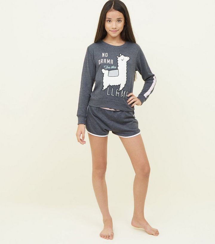 authentic hot-selling official latest design Girls Dark Grey Fluffy Llama Pyjama Set Add to Saved Items Remove from  Saved Items