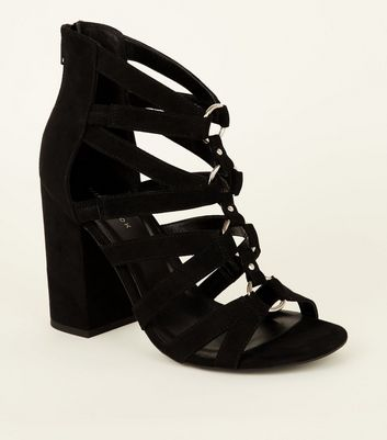 Black Suedette Ring Front Strappy Block Heels