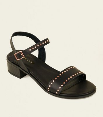 Black Studded Low Block Heel Sandals