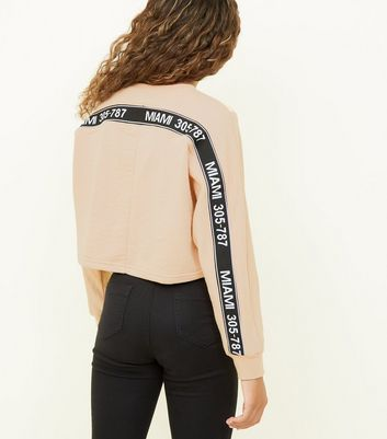 "Girls – Beiges Sweatshirt mit ""Miami""-Slogan"
