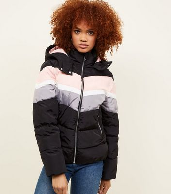 Black Colour Block Puffer Jacket